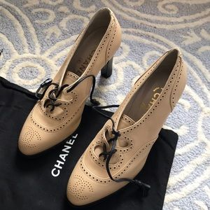 Chanel Lace Up Oxford CC Derby Heels 6.5